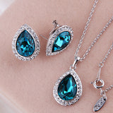 Luxurious Water Drop Blue Crystal Platinum Plated Jewelry Necklace Earring Set Rhinestone - DHUAHU LLC - 2