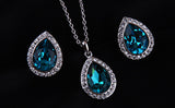 Luxurious Water Drop Blue Crystal Platinum Plated Jewelry Necklace Earring Set Rhinestone - DHUAHU LLC - 5