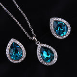 Luxurious Water Drop Blue Crystal Platinum Plated Jewelry Necklace Earring Set Rhinestone - DHUAHU LLC - 1