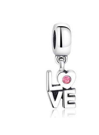 Silver Plated Love Crystal Dangle Charm fit Pandora Bracelet - DHUAHU LLC