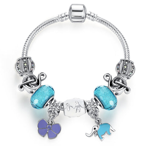 Luxury Family Bead  Elephant & Flower Charms Bracelet - DHUAHU LLC - 1