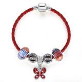 Lovely Butterfly Charm Red Leather Wrap Bracelet - DHUAHU LLC - 1
