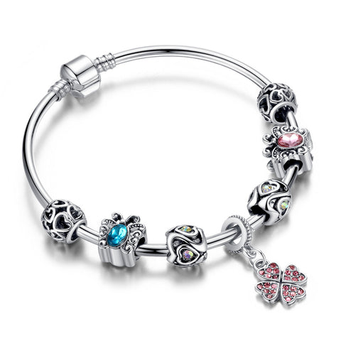 Flower Charm Crystal Bracelet Butterfly Crystal Beads - DHUAHU LLC