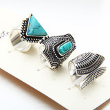 Punk Stone Rings 3 PCS Ring Set - DHUAHU LLC - 1