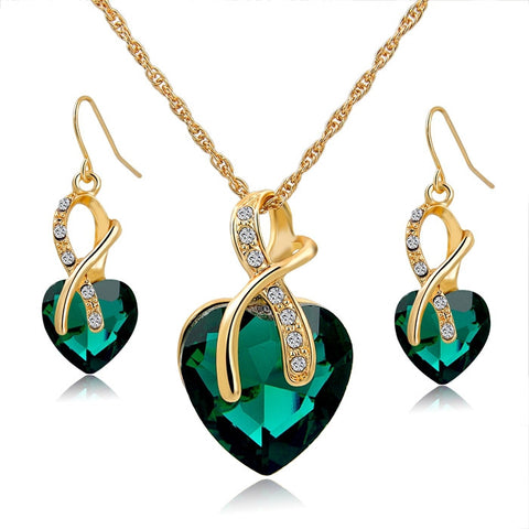Crystal Heart Necklace Earrings Jewelry Set - DHUAHU LLC - 1