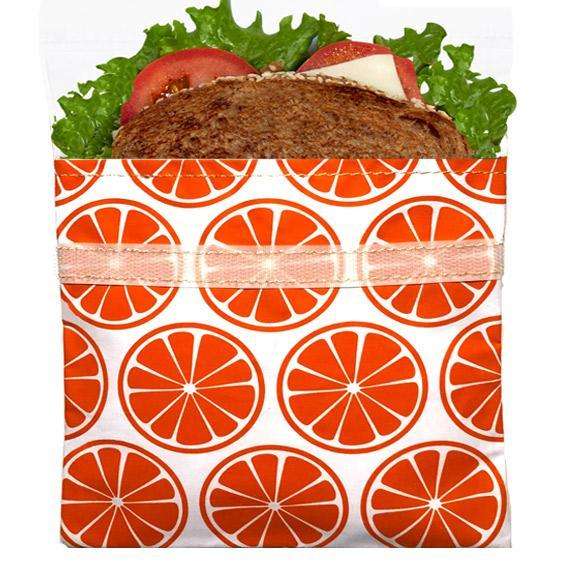 Reusable Velcro Sandwich Bag | Tangerine Orange
