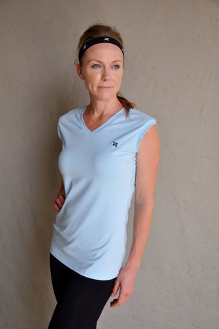 Organic Relaxed V-neck in Periwinkle Mist