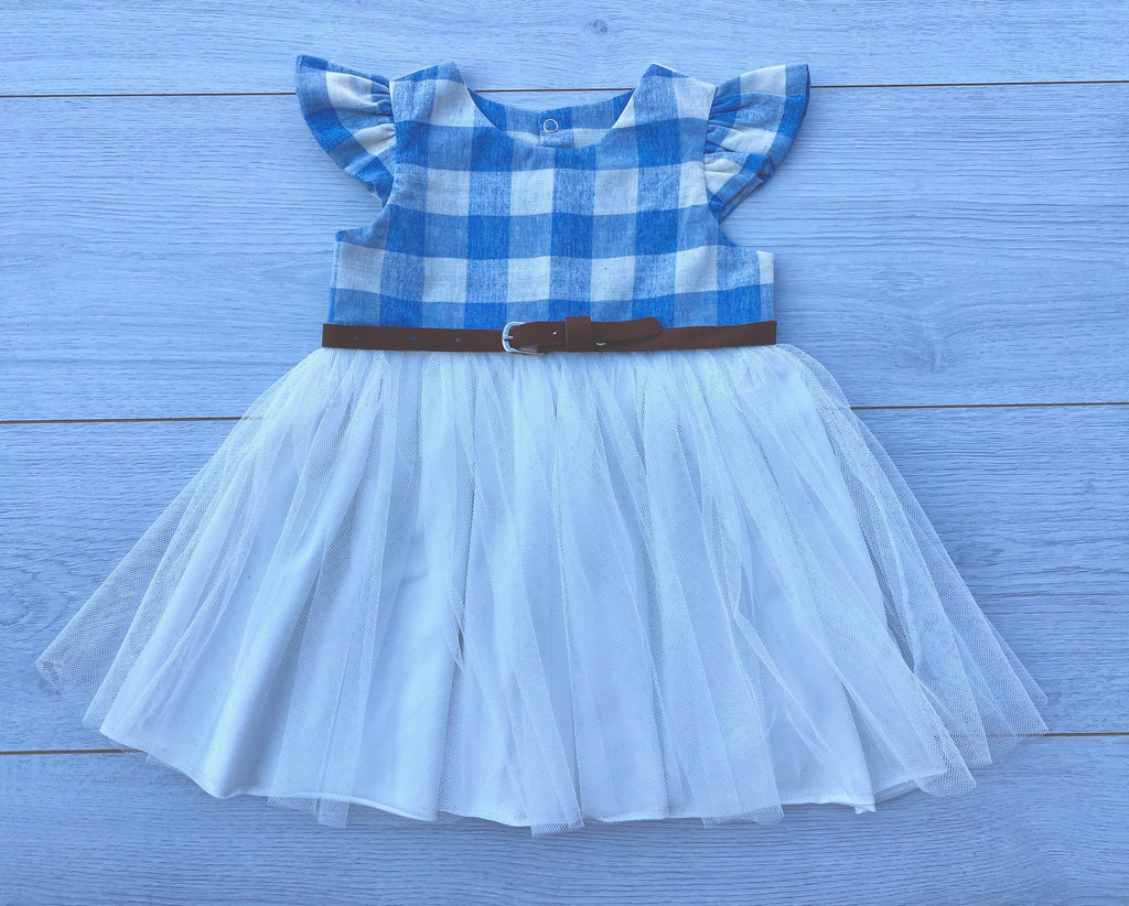 Light Blue and Cream Check Dress with Leather Belt