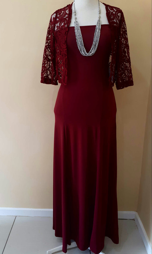 Burgundy Gown& Lace Jacket