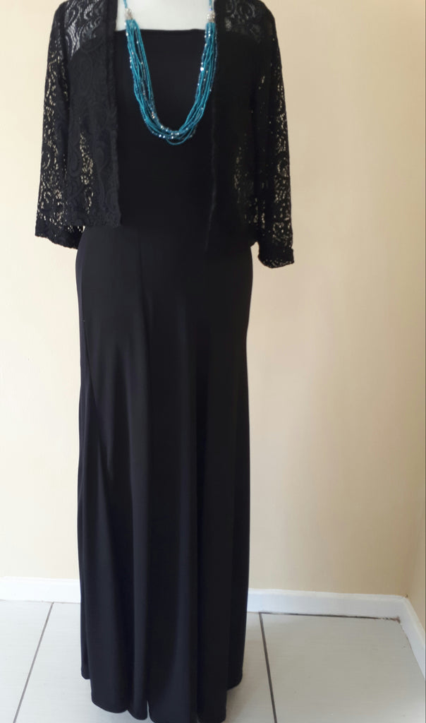 Candy Cotton Black long evening gown with lace jacket – Moeitelose ...