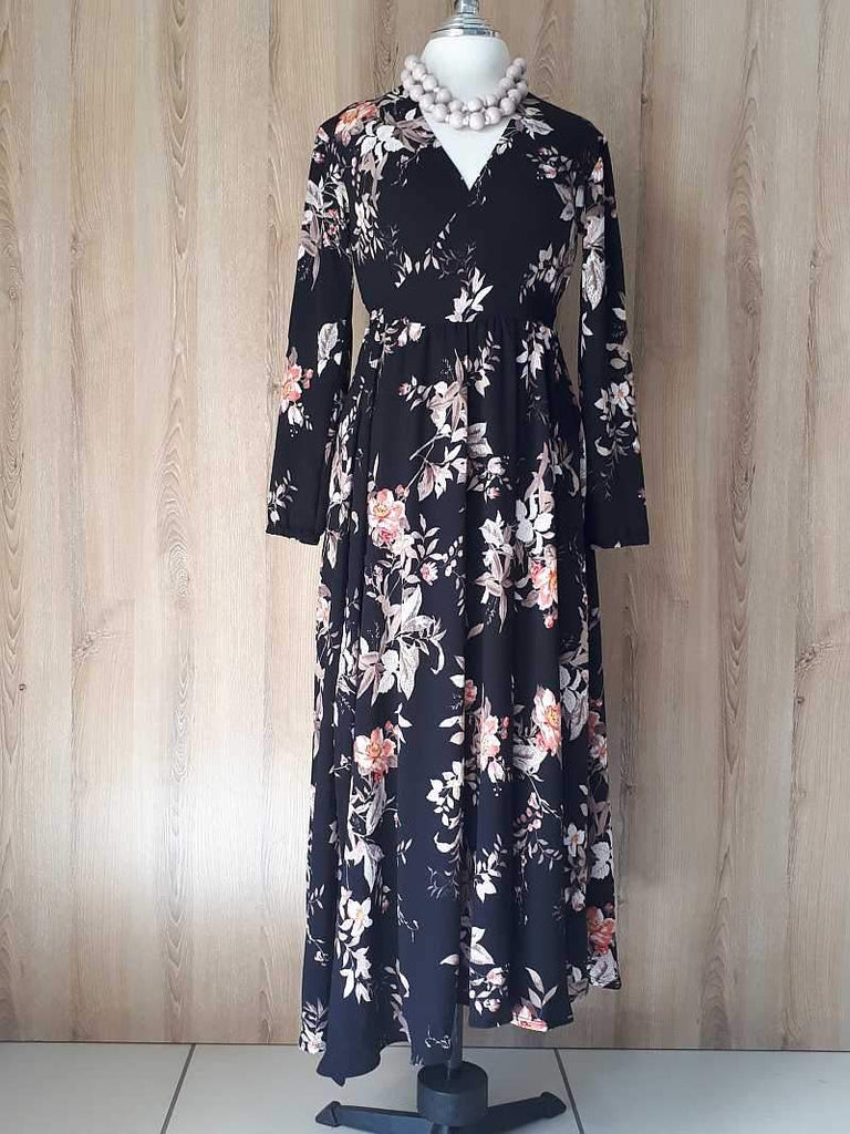 Black & flower Wrap Dress
