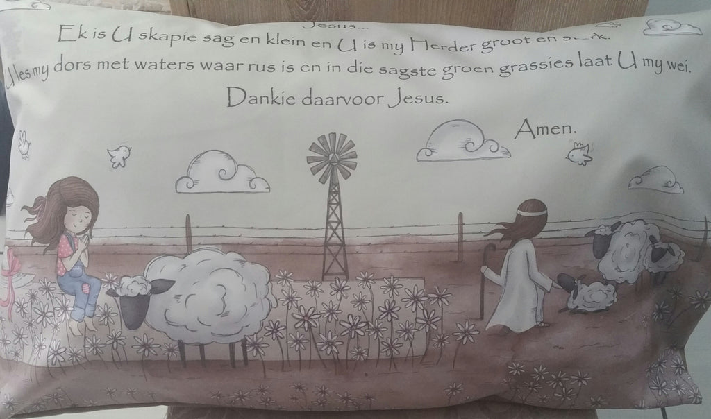 Prayer pillow cases - Girl with Angel and sheep (Farm)