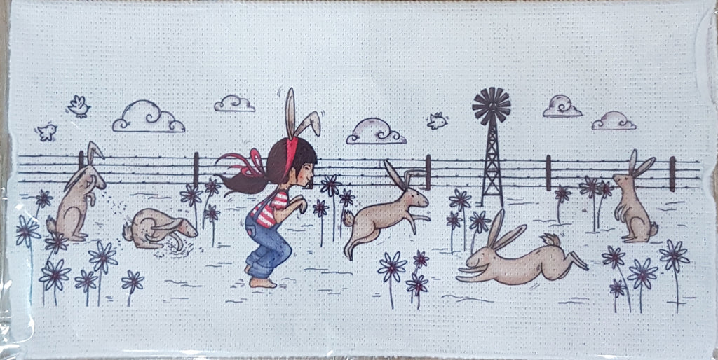 Wash Cloth - Girl with bunnies ( Farm Range)