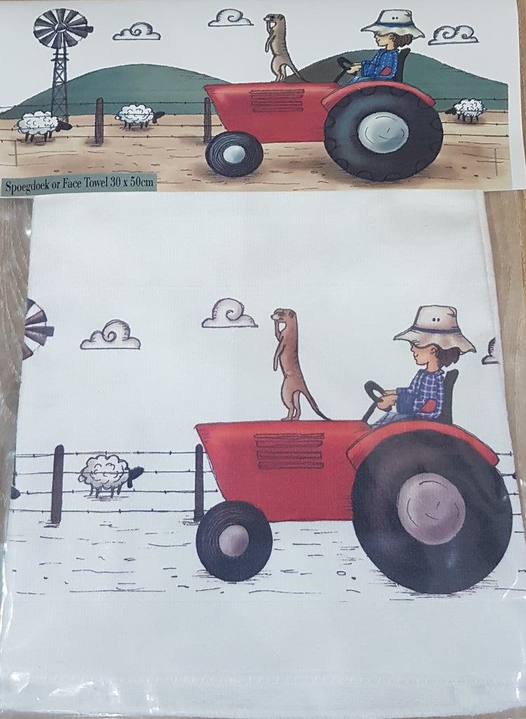 Face Towel - Red tractor (Farm Range)
