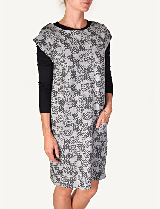 Sway Lola dress light grey melange/charcoal zigzag*