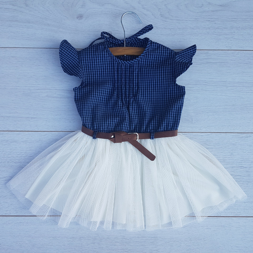Christening Baby Girl Set - Navy check and cream dress with brown belt