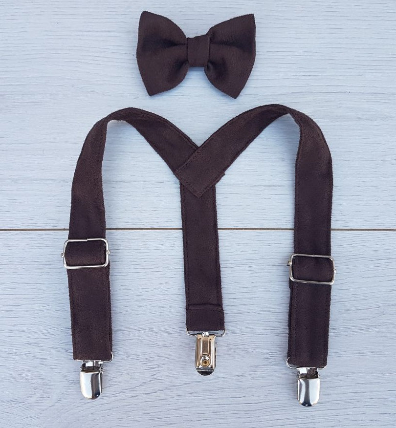 Christening Baby Boy Set - Brown Suede Suspenders (excl bowtie)
