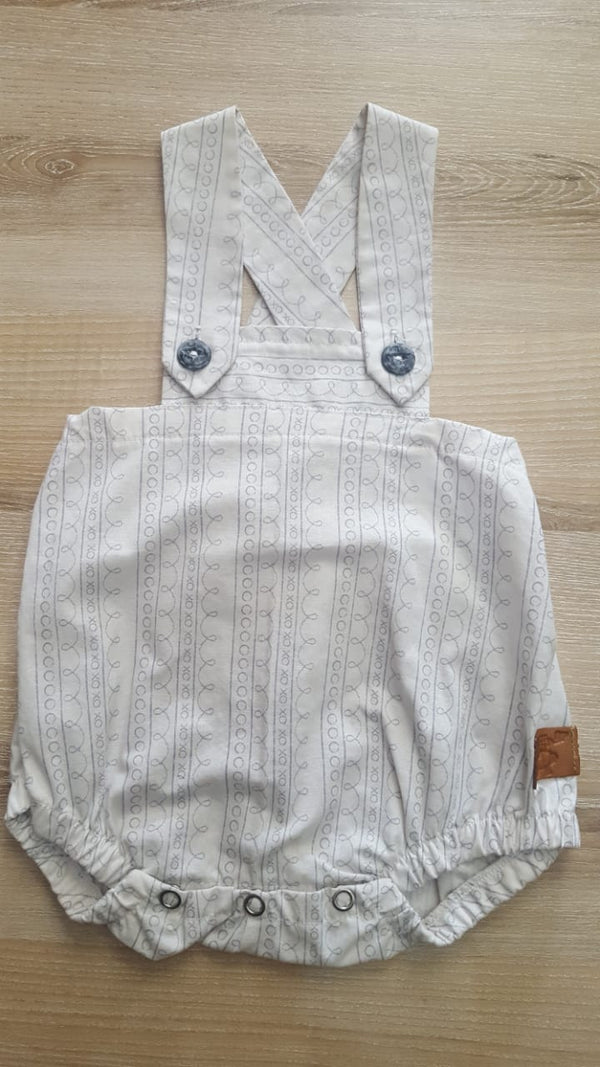 E.J. Pinafore, White With Pattern