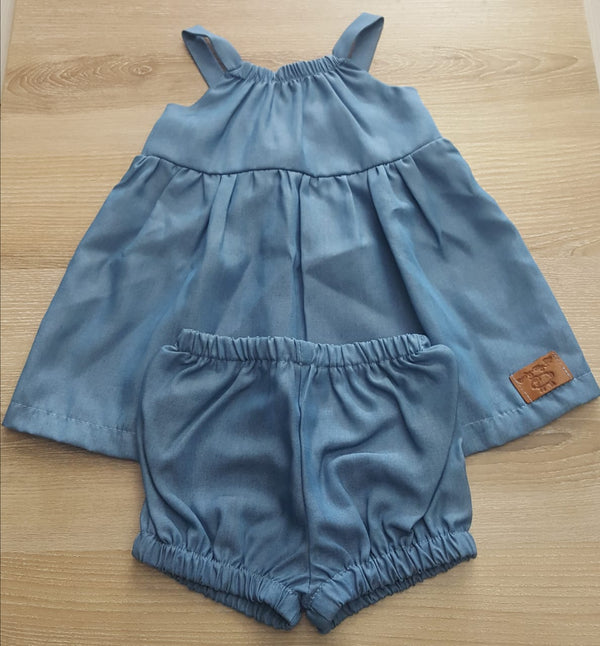E.J. Pinafore, Denim Light Blue