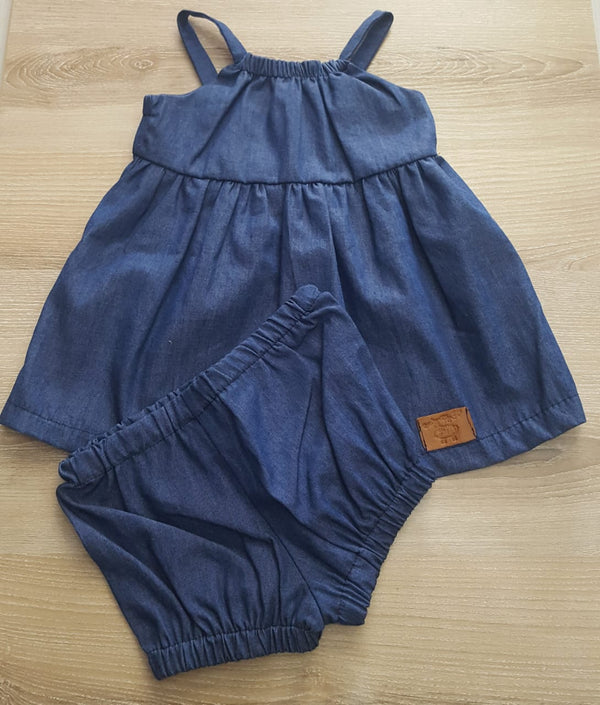 E.J. Pinafore, Denim Blue