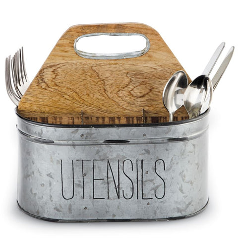 Galvanized Tin Utensil Caddy