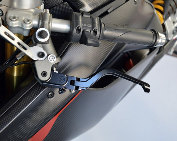 MOTOCORSE NEW STYLE BILLET ADJUSTABLE FOLDING CLUTCH LEVER FOR BREMBO SEMIRADIAL BRAKE MASTER CYLINDER, BLACK or SILVER