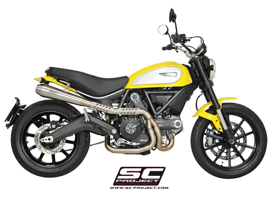 SC PROJECT DUCATI SCRAMBLER FULL SYSTEM 2-1 with CONIC SILENCER - HIGH POSITION / D16-CH21A - DennisPowerSport - 1