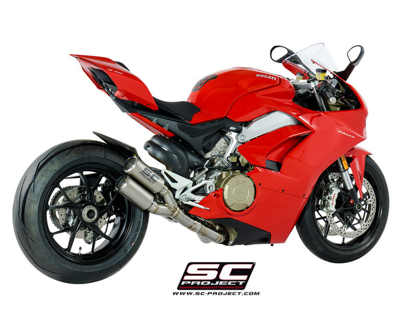 SC PROJECT DUCATI PANIGALE V4 2-1-2 EXHAUST SYSTEM IN FULL TITANIUM AND TWIN CR-T MUFFLERS / D26-LTD36T
