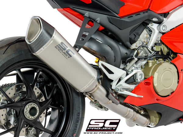 SC PROJECT DUCATI PANIGALE V4 2-1 EXHAUST SYSTEM IN FULL TITANIUM AND SC1-R – HIGH POSITION MUFFLER / D26-HT91T