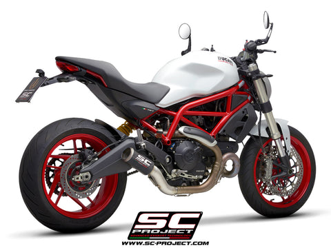 SC PROJECT DUCATI MONSTER 797 (2017 - 2020) CR-T Muffler, carbon fiber, with full titanium link pipe D32-T36C