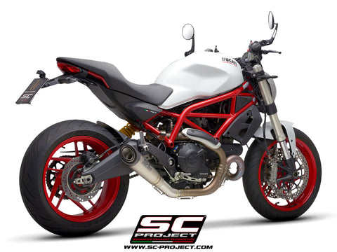 SC PROJECT DUCATI MONSTER 797 (2017 - 2020) S1 Muffler, Titanium, with Carbon fiber end cap D32-T41T
