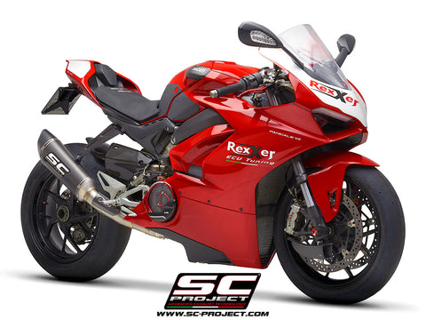 SC PROJECT DUCATI PANIGALE V4 2-1 EXHAUST SYSTEM IN FULL TITANIUM WITH CARBON SC1-R MUFFLER / D26-TC91C