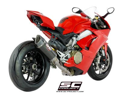 SC PROJECT DUCATI PANIGALE V4 2-1 EXHAUST SYSTEM IN FULL TITANIUM AND SC1-R – HIGH POSITION CARBON MUFFLER / D26-HT91C