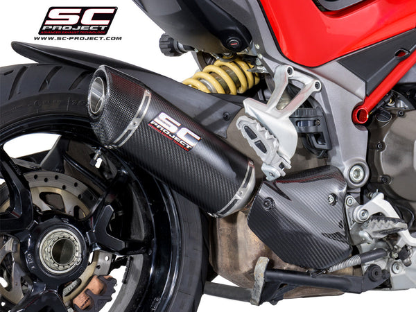 SC PROJECT DUCATI MULTISTRADA 1200 '15-17 OVAL MUFFLER WITH CARBON HEAT COVER