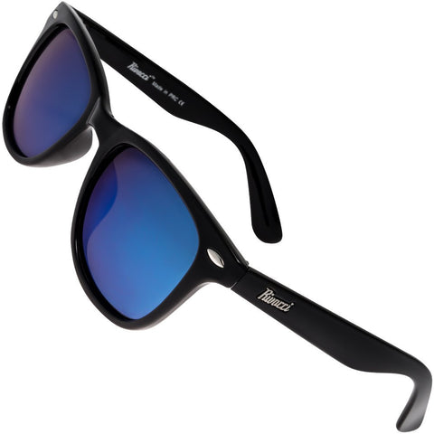 Wayfarer Black Frame / Blue Mirror Lens Medium 49mm Polarized Sunglasses