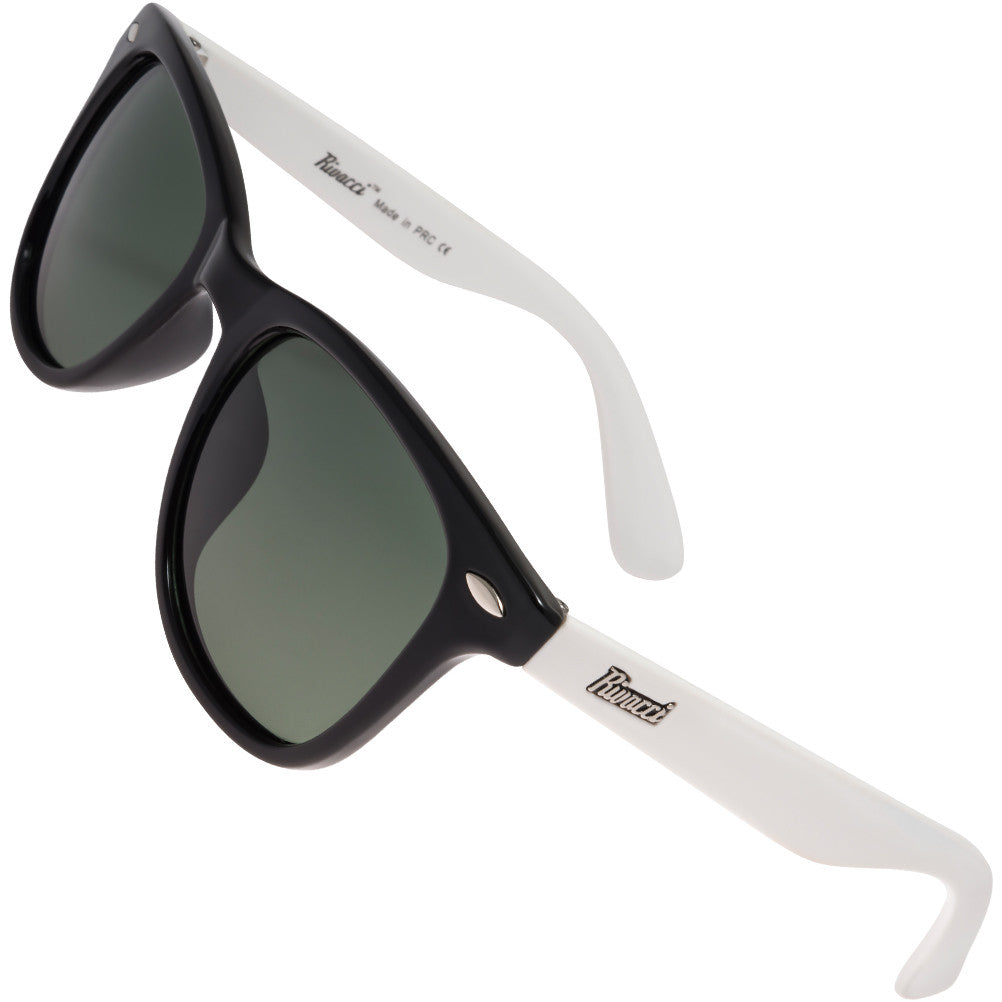 Wayfarer Black & White Frame / G15 Green - Gray Lens Medium 49mm Polarized Sunglasses