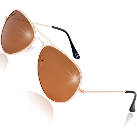 Pilot Polarised Sunglasses for Mens and Womens Gold / Brown Lens