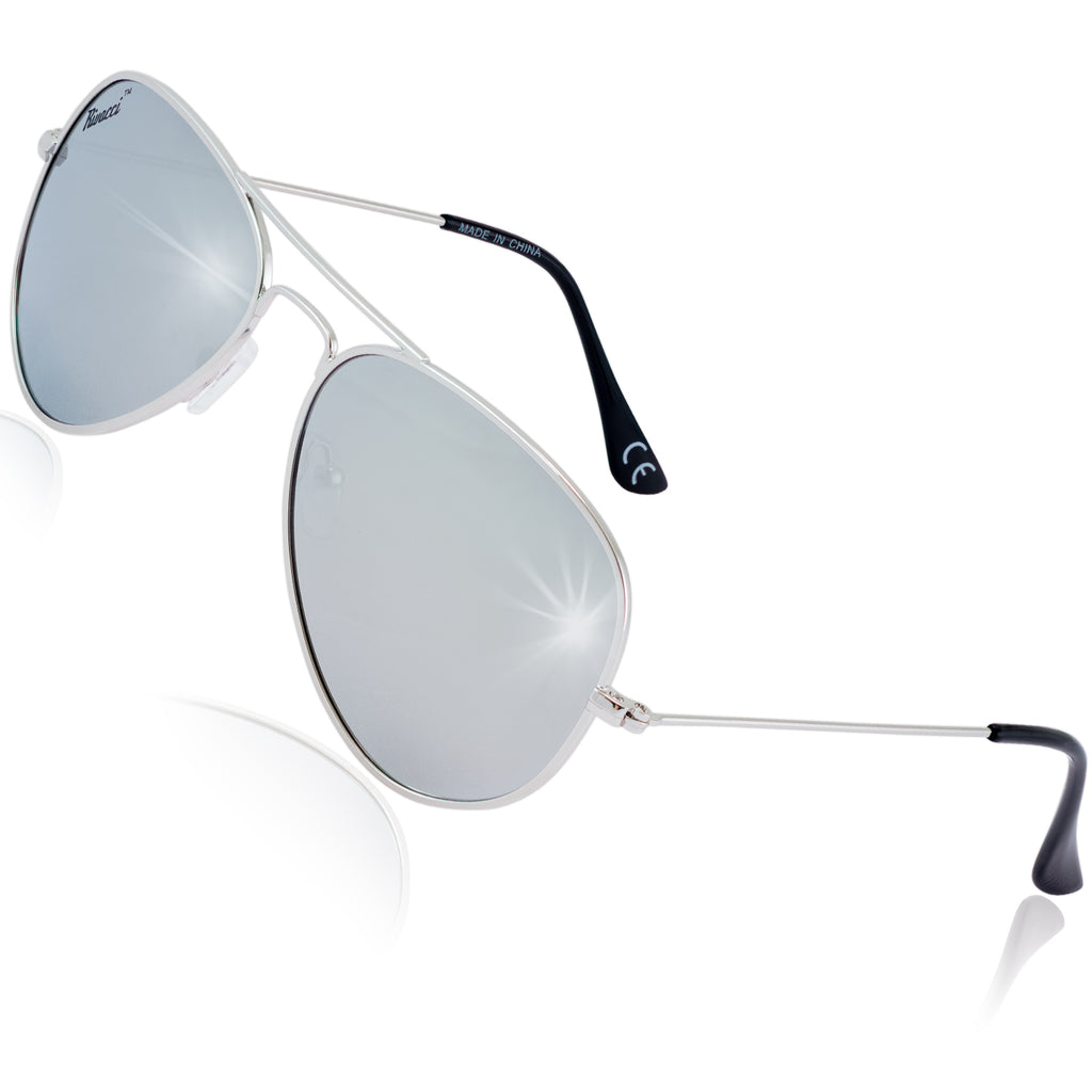Pilot Polarised Sunglasses for Mens and Womens Silver / Silver Mirror Lens