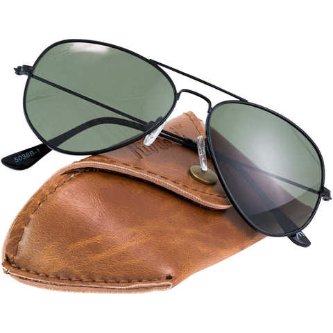 Aviator Black Frame / G15 Green - Gray Lens Medium 58mm Polarized Sunglasses