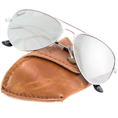 Aviator Silver Frame / Silver Mirror Lens Medium 58mm Polarized Sunglasses