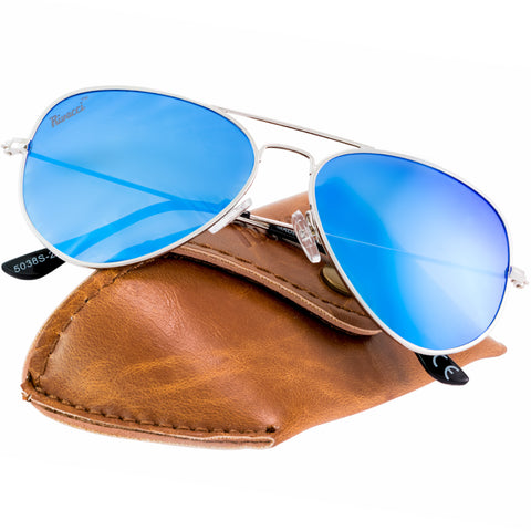 Aviator Silver Frame / Blue Mirror Lens Medium 58mm Polarized Sunglasses