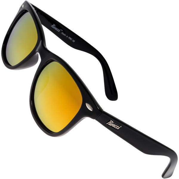 Wayfarer Black Frame / Red – Gold Mirror Lens Medium 49mm Polarized Sunglasses