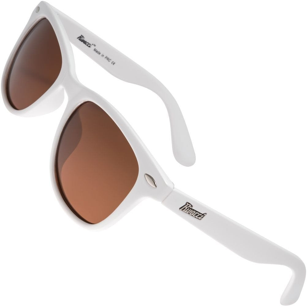 Classic Polarised Sunglasses for Mens and Womens White / Brown Lens