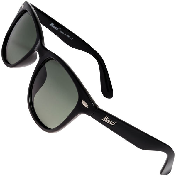 Classic Polarised Sunglasses for Mens and Womens Black / G15 Green - Gray Lens