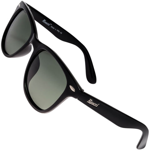 Wayfarer Black Frame / G15 Green - Gray Lens Medium 49mm Polarized Sunglasses