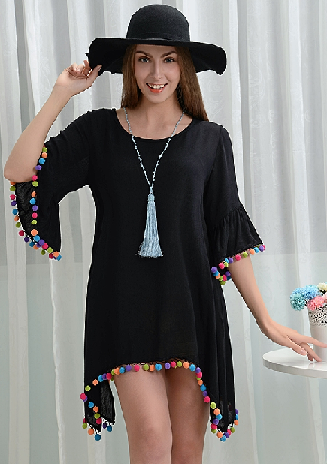 Off To Rio Black Pom Pom Tunic Dress - It's A Cowgirl Thing Boutique