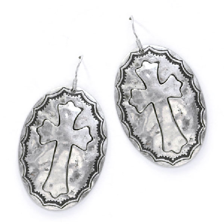 Silver Cross Earrings - It's A Cowgirl Thing Boutique