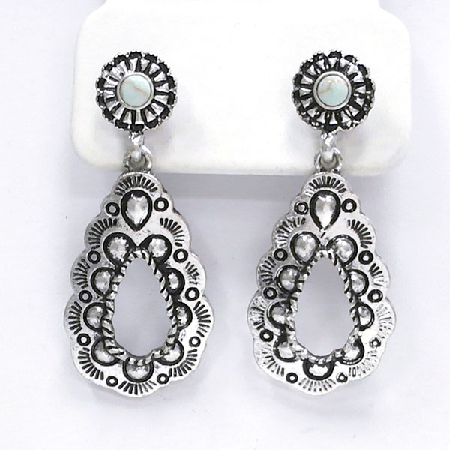 Silver Tribal Earrings - It's A Cowgirl Thing Boutique