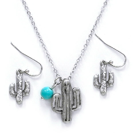 Silver Cactus Necklace Set - It's A Cowgirl Thing Boutique