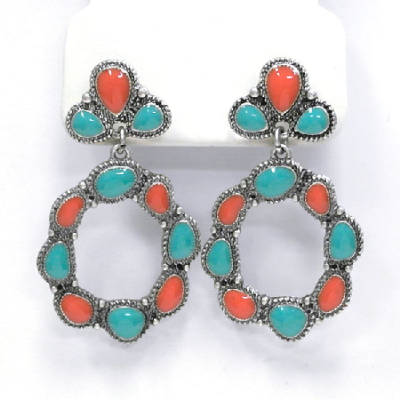 Turquoise And Red Post Earrings
